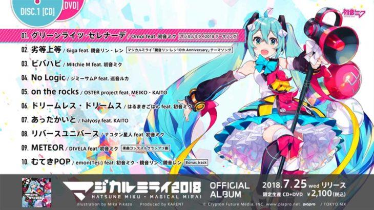 【2018年7月25日発売】「マジカルミライ 2018」OFFICIAL ALBUMが発売中!!
