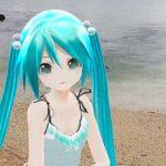 ミクさんは沖縄県糸満市の砂浜で遊びました